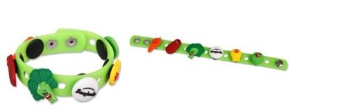 Tyto silikonové náramky s piny ve tvarech oblíbených zeleninových postaviček Bonduelle měly u dětí velký úspěch